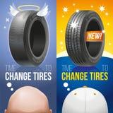 Hora de cambiar los neumáticos - viejos y los nuevos neumáticos Ilustración del Vector