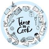 Hora de cozinhar a ilustração tirada Lettering Hand ilustração royalty free