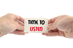 Hora de escutar conceito do texto Foto de Stock Royalty Free