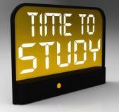 Hora de estudiar la educación y estudiar de Showis del mensaje Imágenes de archivo libres de regalías