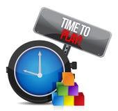 Hora de jugar el reloj ilustración del vector