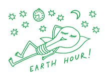 Hora de la tierra La lámpara duerme entre las estrellas en un fondo azul Gráfico simbólico Vector ilustración del vector