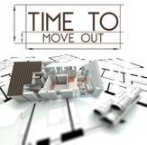 Hora de moverse hacia fuera con el proyecto de la casa Imágenes de archivo libres de regalías