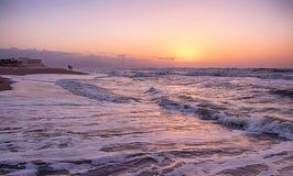 Hora de oro en la playa imágenes de archivo libres de regalías