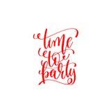 Hora de party a inscrição vermelha da rotulação da mão ao Natal e a 20 Fotos de Stock Royalty Free
