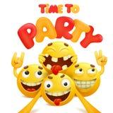 Hora de party o cartão com grupo de personagens de banda desenhada amarelos do emoji Fotos de Stock Royalty Free