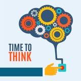 Hora de pensar, concepto creativo de la idea del cerebro, Fotos de archivo libres de regalías