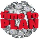 Hora de planear el planeamiento de la esfera del reloj para el logro de la meta Foto de archivo libre de regalías