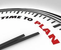 Hora de planear - el reloj con palabras Imagenes de archivo