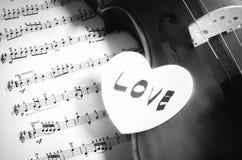 Hora de praticar o estilo preto e branco do tom da cor do violino Fotos de Stock Royalty Free