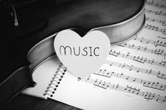 Hora de praticar o estilo preto e branco do tom da cor do violino Fotos de Stock