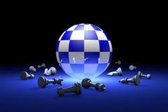 Hora de relaxar a metáfora da xadrez 3d rendem a ilustração Termas livres Foto de Stock Royalty Free