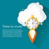 Hora de trabajar El tiempo se está ejecutando hacia fuera Reloj, cronómetro que se eleva para arriba Diseño del vector Fotos de archivo