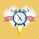 Hora de trabajar Reloj que se eleva para arriba Diseño del vector Foto de archivo libre de regalías