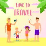 Hora de viajar bandera cuadrada Ocio feliz de la familia ilustración del vector