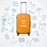 Hora de viajar ejemplo del concepto con la maleta realista del bulto de mano Foto de archivo libre de regalías