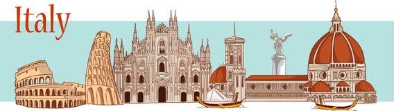 Hora de viajar Turismo em Italy Projeto liso, illustrati do vetor Foto de Stock Royalty Free