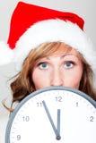 Hora del reloj de la Navidad Foto de archivo libre de regalías