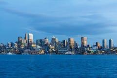 Hora do azul da skyline da cidade de Seattle Fotos de Stock Royalty Free