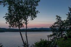 Hora do azul de Bomoseen do lago fotos de stock
