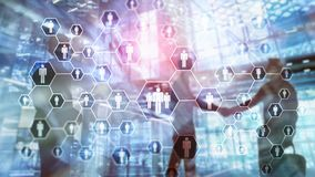 Hora, estrutura de recursos humanos, de recrutamento, de organização e conceito social da rede foto de stock