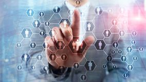 Hora, estrutura de recursos humanos, de recrutamento, de organização e conceito social da rede imagens de stock
