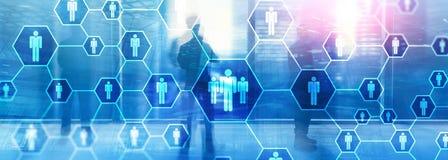 Hora, estrutura de recursos humanos, de recrutamento, de organiza??o e conceito social da rede fotografia de stock royalty free