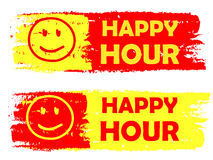 Hora feliz con las etiquetas dibujadas de la muestra de la sonrisa, amarillas y rojas Foto de archivo libre de regalías