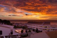 Hora mágica do nascer do sol sobre o mar da Espanha Foto de Stock Royalty Free