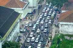 Hora ocupada na rua de Ásia Afrika Fotos de Stock