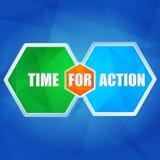 Hora para a ação nos hexágonos, projeto liso Fotografia de Stock Royalty Free