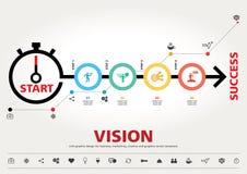 Hora para el éxito, diseño gráfico de la información moderna de la plantilla Foto de archivo