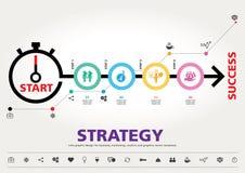 Hora para el éxito, diseño gráfico de la información moderna de la plantilla Imagen de archivo libre de regalías
