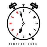 Hora para el almuerzo, alarma del desayuno en 7  Despertador conceptual del vector con las manos de reloj estilizadas como la cuc stock de ilustración