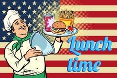 Hora para el almuerzo Alimentos de preparación rápida cocinero con la bandeja con la bandera de los E.E.U.U. de la tapa libre illustration