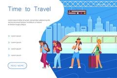 Hora para el aterrizaje del viaje Viaje para los caracteres jovenes de los viajeros stock de ilustración