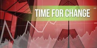 Hora para el cambio contra rascacielos Imagen de archivo libre de regalías