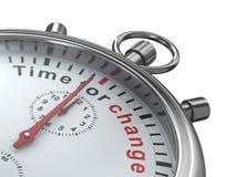 Hora para el cambio. Cronómetro en el fondo blanco Fotos de archivo