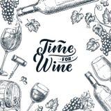 Hora para el marco del vino con las letras exhaustas de la caligrafía de la mano Ejemplo del bosquejo del vector Diseño del carte libre illustration