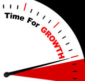 Hora para el mensaje del crecimiento que representa el aumento o el levantamiento Imagen de archivo
