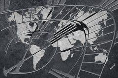 Hora para el negocio global Mapa del mundo con un reloj Foto de archivo