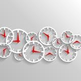 Hora para el reloj del negocio, fondo del cartel de los elementos del reloj Foto de archivo