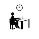 Hora para el trabajo en blanco y negro Imágenes de archivo libres de regalías