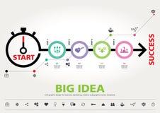 Hora para el éxito, diseño gráfico de la información moderna de la plantilla Foto de archivo libre de regalías