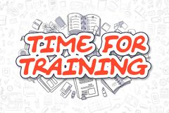 Hora para entrenar - palabra del rojo del garabato Concepto del asunto libre illustration