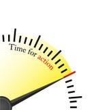 Hora para la acción - reloj Imagen de archivo