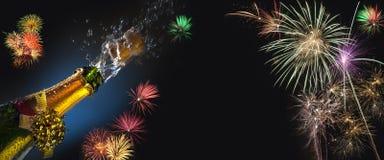 Hora para la celebración - ruido como el de un gas que se escapa y fuegos artificiales Imagenes de archivo