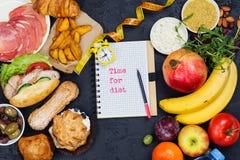 Hora para la dieta concepto de ayuno de la dieta del 5:2 imagen de archivo libre de regalías