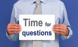 Hora para la muestra de las preguntas Imágenes de archivo libres de regalías