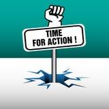 Hora para la placa de la acción Fotos de archivo libres de regalías